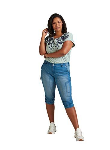 Zizzi Damen Capri Jeans 3/4 Caprihose mit Stretch Hose, Blau , 44