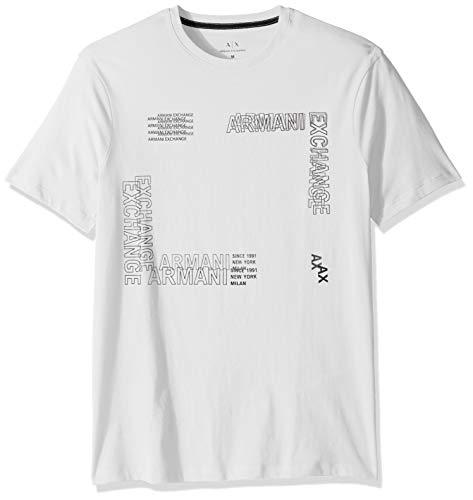 Armani Exchange AX Herren Short Sleeve Crew Neck Sqaure Graphic T-Shirt, weiß, Groß