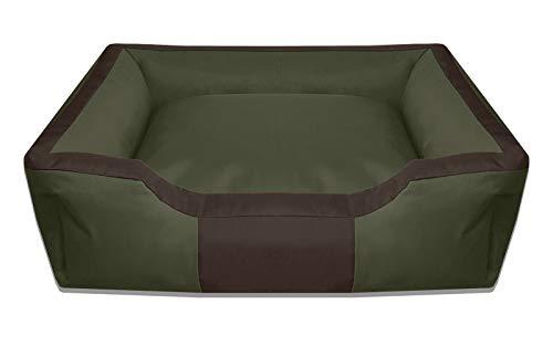 BedDog® Hundebett Bruno, großes Hundekörbchen aus Cordura, waschbares Hundebett Vier-eckig mit Rand, Hundesofa für drinnen,draußen, XXL, Green-Field, grün-braun
