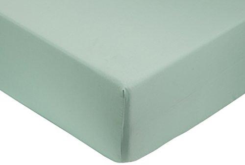 Amazon Basics - Lenzuolo con angoli king, in rasatello di cotone 400 fili, Verde acqua 180 x 200 x 30 cm