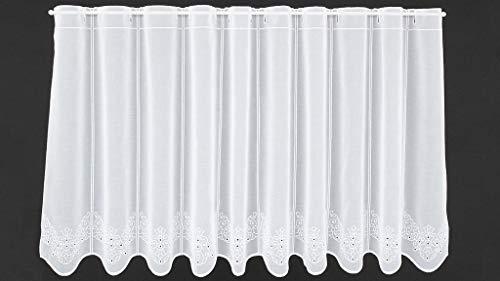 Tenda della finestra ricamato sotto con motivo traforato altezza 60 cm | Può scegliere la larghezza in segmenti da 16 cm, come vuole | Colore: Bianco | Tendine cucina