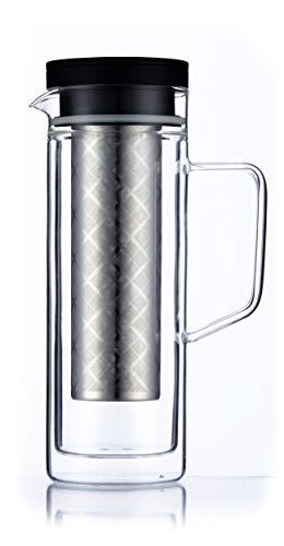Cold Brew Dripper Kaffeemaschine & Eistee Krug Doppelwandige, luftdichte Glastopf-Kaltbrauerkaraffe mit herausnehmbarem Filter aus feinem Kaffeesieb Cafetiere Glas für 7 Tassen Coffee Maker