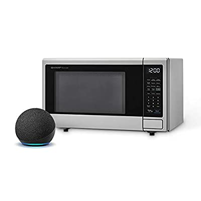Sharp Compatible with Alexa Smart Countertop Microwave Oven, 1.1 Cubic Foot, Stainless Steel, with Echo Dot (4th gen), Charcoal
