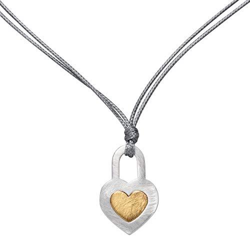 Perlkönig Kette Halskette | Damen Frauen | Herz im Schloss in Gold Silber | Herzförmig | Textilband | Karabiner | Nickelabgabefrei