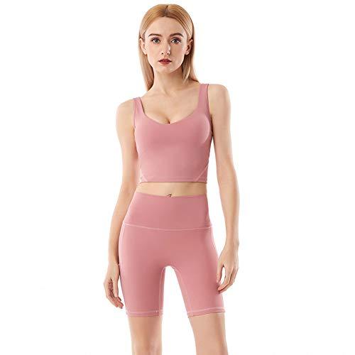 naka Conjunto de yoga para mujer, ropa de entrenamiento, sujetador deportivo sin mangas y leggings de cintura alta, trajes deportivos para mujer