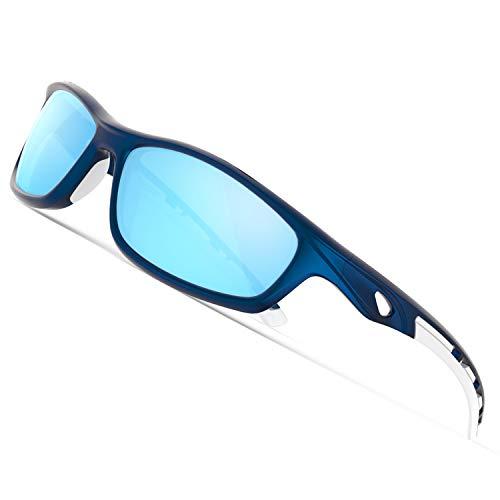 TOREGE Polarisierte Sport-Sonnenbrille für Männer und Frauen, Radfahren, Laufen, Fahren, Angeln, Golf, Baseball-Brille, EMS-TR90 Rahmen TR08, Blau&Weiß&Hellblaue Linse