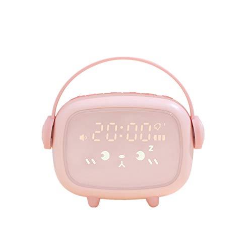 SETSCZY Reloj Despertador Digitales Infantil Niña Niños Luz de Noche Dormitorio de Los Niños Pantalla LED con Hora, Silenciosa Reloj Despertador de Cabecera,Rosado