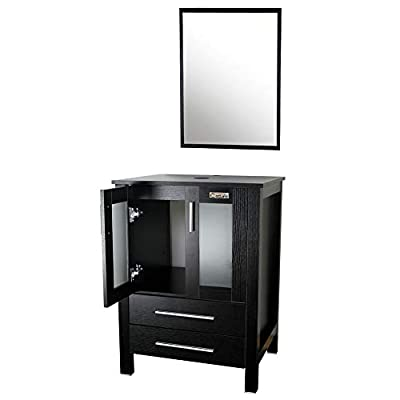"Eclife Modern 24"" Bathroom Vanity Pedestal Cabinet Set Pedestal Stand Wood (Black) with Bathroom Vanity Mirror Soft Closing Cabinet Doors Set B02"