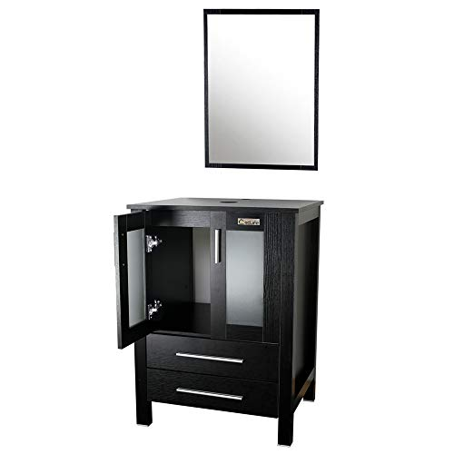 "Eclife Modern 24"" Bathroom Vanity Pedestal Cabinet Set Pedestal Stand Wood Black with Bathroom Vanity Mirror Soft Closing Cabinet Doors Set B01"