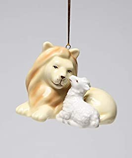 Cosmos Gifts Fine Porcelain Inspirational Peace on Earth & Eternal World Peace Lion and Lamb Christmas Tree Ornament Figurine, 2-7/8