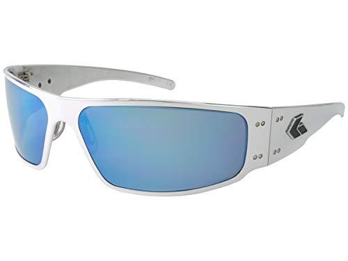 Gatorz Magnum Sonnenbrille, Metallaluminiumrahmen, Militär Tactical Style, ungepolter Smoked/Blau-Spiegel-Objektiv Poliert Einheitsgröße