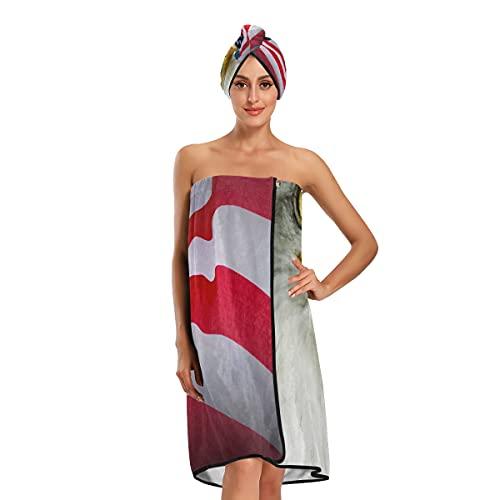 Toallas de baño extra grandes símbolo americano bandera de Estados Unidos Eagle negro toallas de ducha toallas de baño ajustables juego de 3 piezas para baño spa