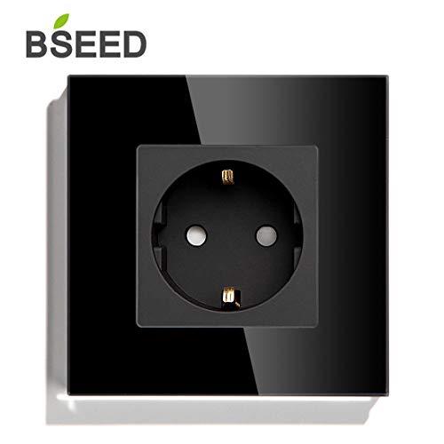 BSEED AC Power Tomacorriente de pared Individuales Estándar de la EU 86mm*86mm Negro