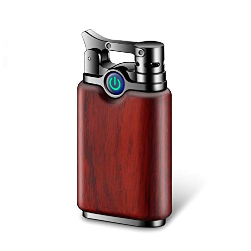 Dual Arc Lighter Rechargeable Flameless Windproof Portable Double Arc Lighter Sandalwood Cigarette Candle Plasma Lighter (Rosewood-Black)