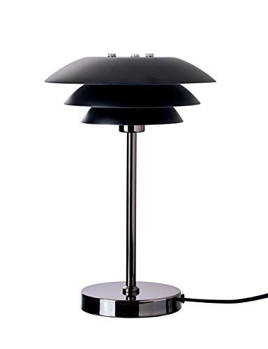 Dyberg Larsen DL20 Schwarz Chrom Tischleuchte skandinavisch / Design Nachttisch-leuchte / skandinavische Tischlampe Durchmesser: 20 cm Höhe: 30 cm Mattsschwarz