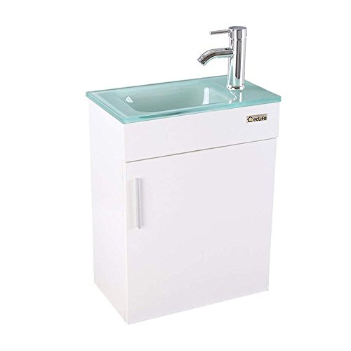 """U-Eway Wall Mounted Bathroom Vanity and Sink Combo 18.4""""x 10.5"""",Modern Small Bathroom Vanity Set 27""""x 18.4"""", with Top Clear Glass Bowl, with Faucet Chrome P-Trap Pop Up Drain,Without Mirror (White)"""