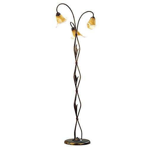 ONLI - Lámpara de pie Alga 3 x E14. Metal Marrón dorado, tulipa de cristal mate con interior translúcido ámbar. Estilo clásico, tradicional. Para Camera de cama, salón