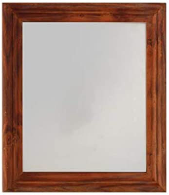 Aprodz Flat Decorative Wall Mirror| Teak Finish