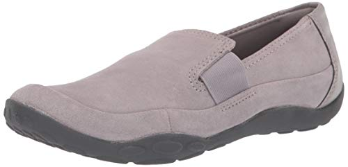 Clarks Women's Haley Park Loafer Flat, Grey Suede, 10 W US
