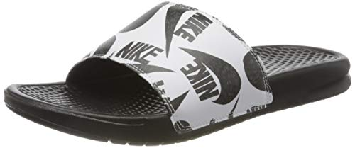 Nike Benassi JDI Printed, Sandalia de Diapositivas Hombre, Negro/Negro-Blanco, 41 EU