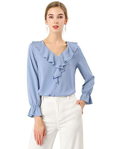 Allegra K Damen Langarm Volant V Neck Chiffon Top Bluse Blau Grau M