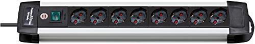 Brennenstuhl 1391005018 Multipresa, serie Premium Alu Line,8 prese italiane (10/16A), bordi in alluminio, interruttore luminoso