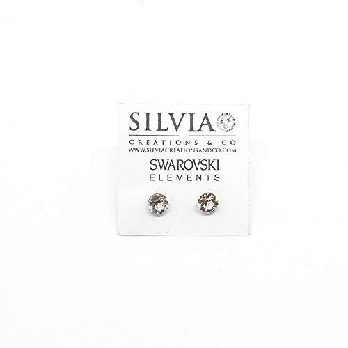 Orecchini a lobo con cristallo Swarovski bianco da 6 mm