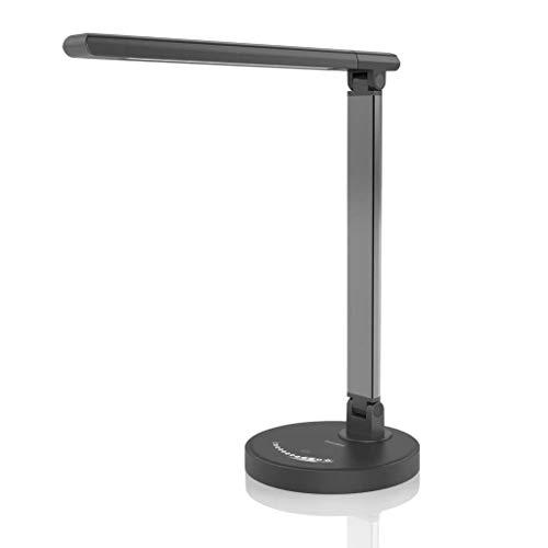 Mjd leeslamp, dimbaar, klein bureau met leeslampje, touch-dimmer, USB-laad-tafellamp, 10 W, 5 kleuren temperatuur