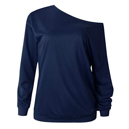 T-Shirt Damen Tops Damen Sexy Trägerlos Einfarbig Große Größe Lose Komfortabel Sweatshirt Herbst Neues Lange Ärmel Schick All-Match Business Casual Damen T-Shirt E-Blue XL