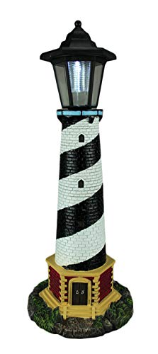 World Of Wonders Resin Outdoor Statues Guiding Light Black And White Solar Led Outdoor Lighthouse Statue 8 X 20.5 X 8 Inches Multicolored