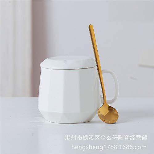 Xiaobing Taza de café Simple Creativa Taza de Personalidad de Diamante Taza de Desayuno en casa Taza de Agua de cerámica -C283-301-400ml