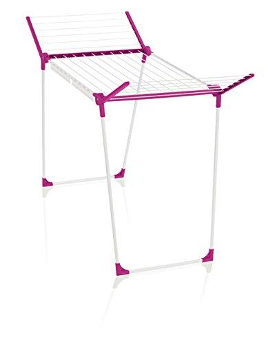 Leifheit Standtrockner Pegasus 180 Solid Crazy Pink, Wäscheständer mit Flügeln für lange Kleidung, standfester Flügelwäschetrockner für innen und außen