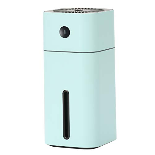 NovoLido Mini USB Humidifier, Small Personal Humidifier with 7-Colors Light, Two Spray Mist, Auto Shut-Off, Super Quiet, Portable Desktop Humidifier for Travel Office Car Baby Bedroom (180ml Blue)