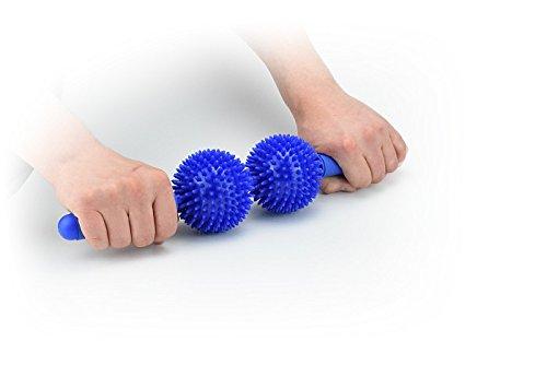 Massageroller met 2 ballen egelbal 9 cm tegen spanning en spierpijn