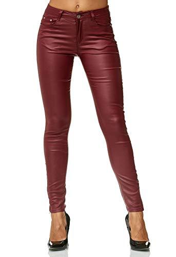 EGOMAXX Damen Treggings Hose Leder Optik Kunstleder Hose Skinny Stretch Röhre D2476, Farben:Rot, Größe:36