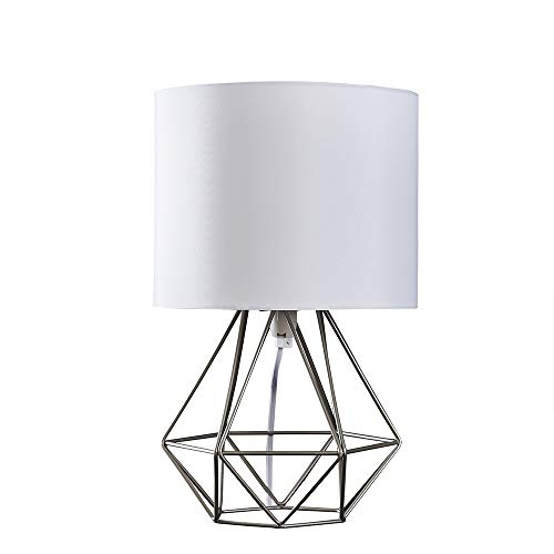 Modern Brushed Chrome Metal Basket Cage Style Table Lamp with a White Fabric Shade