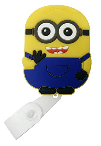 Cartoon Retractable Badge Reel - Holder for ID and Name Tag with Belt Clip, Great Gift for Nurse and Medical Workers, Cute ID Holders for Nursing School Student, RN, or CNA (Minion)