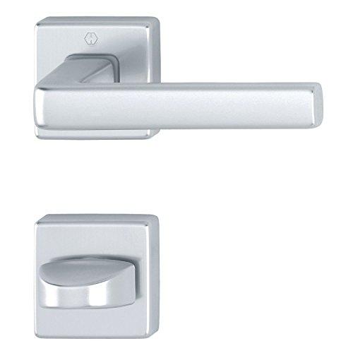 HOPPE 3796091 Drückergarnitur H-Dublin mit Rosetten eckig WC, Aluminium silber eloxiert
