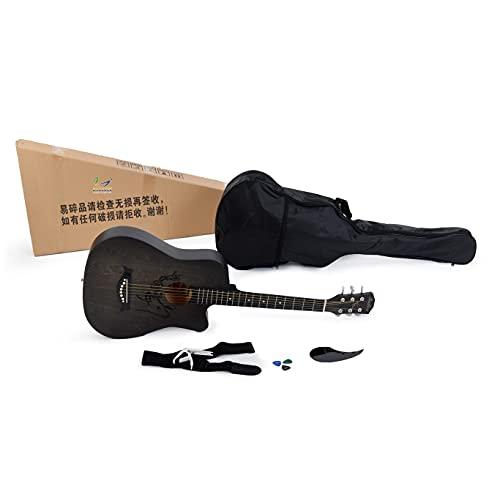 BREEZEE MARKET Kit Guitarra Acustica De Abeto 38 Pulgadas Con Estuche, Cuerdas Extra, Capo, Afinador Y Más Accesorios, Instrumento Musical Clásico Acústico Para Adultos Y Niños, Fácil de Aprender (Negro)