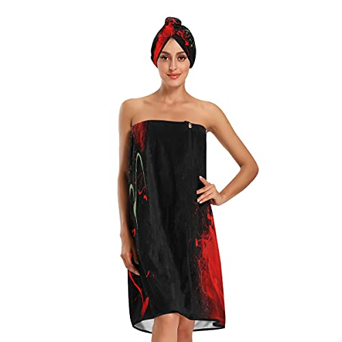 Después de la ducha Wrap para las mujeres color rojo sangre flor amapola ducha accesorios para las mujeres toallas de baño ajustables conjunto de 3 piezas para baño spa