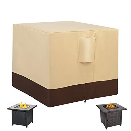 HOMEHUA FIRE PIT TABLE COVER SQUARE PVC 코팅이 있는 고밀도 중장비 600D 재료 외장 화재 테이블 커버 100% 방수 패딩 핸들 에어 벤트 ANTI-CRACK BEIGE - 30 X 30 인치 맞음