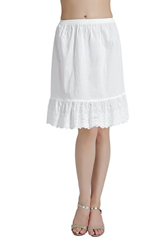 BEAUTELICATE Mujer Enaguas de Algodón Corta Antiestática Combinación para Vestido Antideslizante Plain Falda Marfil con Encaje Dobladillo 55CM