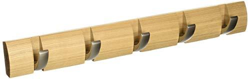 Umbra 318850-390 Perchero de pared con ganchos extraíbles para varios abrigos, color madera, 50.8 x 6.5 x 3.1 cm, Pack de 5