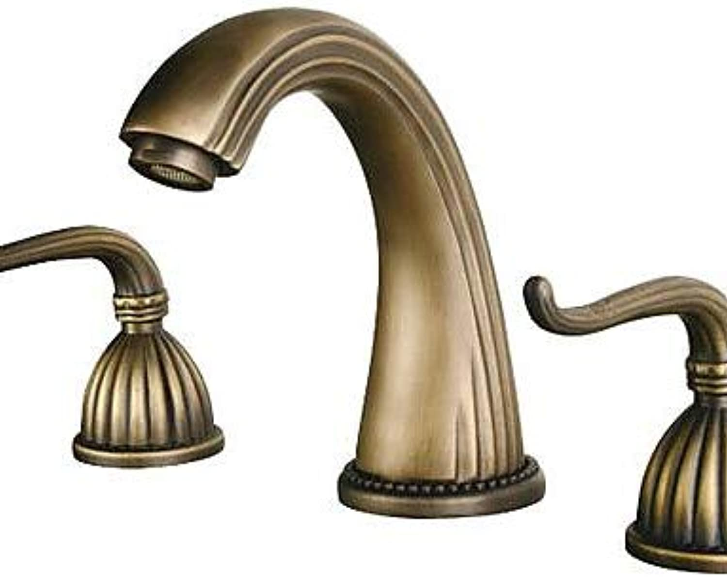 Mainstream home LPZSQ Tap Antique Brass Finish Widespread Bathroom Sink Faucet  346