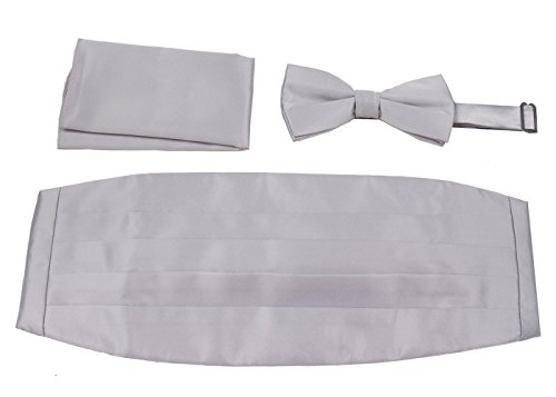 Mens Formal Woven Satin Cummerbund Pre-Tied Bowtie Hanky set - Many Solid Colors Available, Silver, One Size
