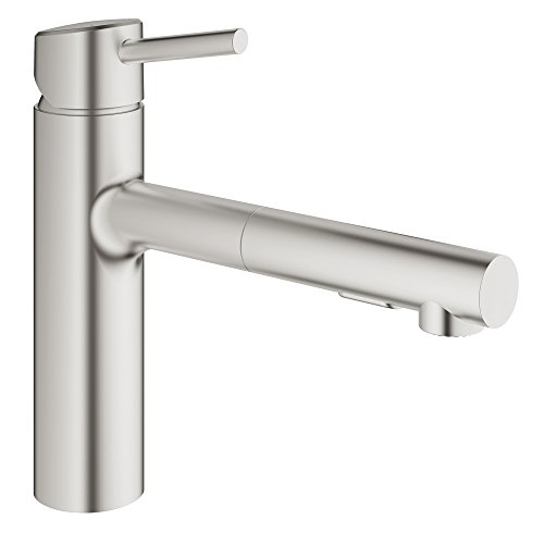 Grohe 31453DC1 Concetto Single-Handle Pull-Out Kitchen Faucet with Dual Spray, Super Steel