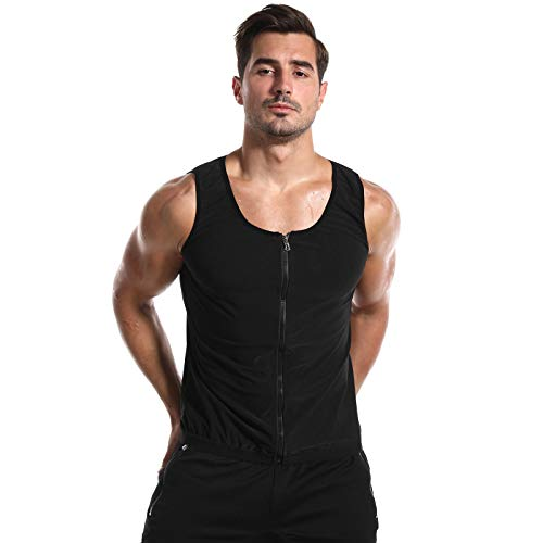 Lenfeshing Chaleco para Hombre con Cremallera para Perder Peso Corsé Caliente Entrenador en la Cintura Camisa para Adelgazar Entrenamiento