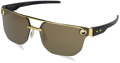 Oakley OO4136 Chrystl Square Metal Sunglasses, Satin Gold/Prizm Tungsten, 67 mm