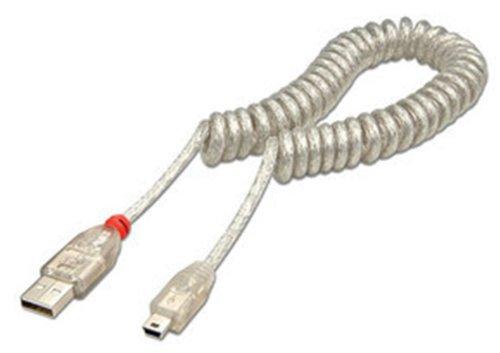 LINDY 31925 – Cables USB 2.0 en espiral tipo A macho a Min