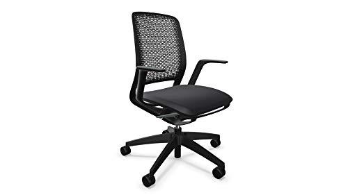 Sedus se:Motion Space, Bürostuhl, schwarz, mit Armlehnen, Sitzpolster, keimresistent, Drehstuhl, Silvertex Graphit, Verstellbar